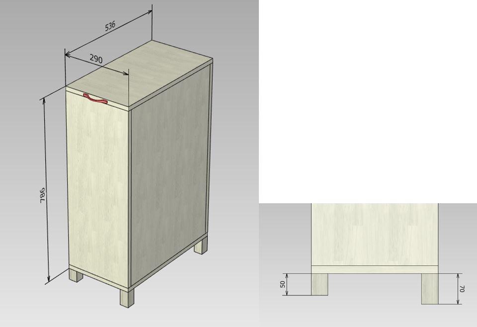 ランドリーボックス 寸法図