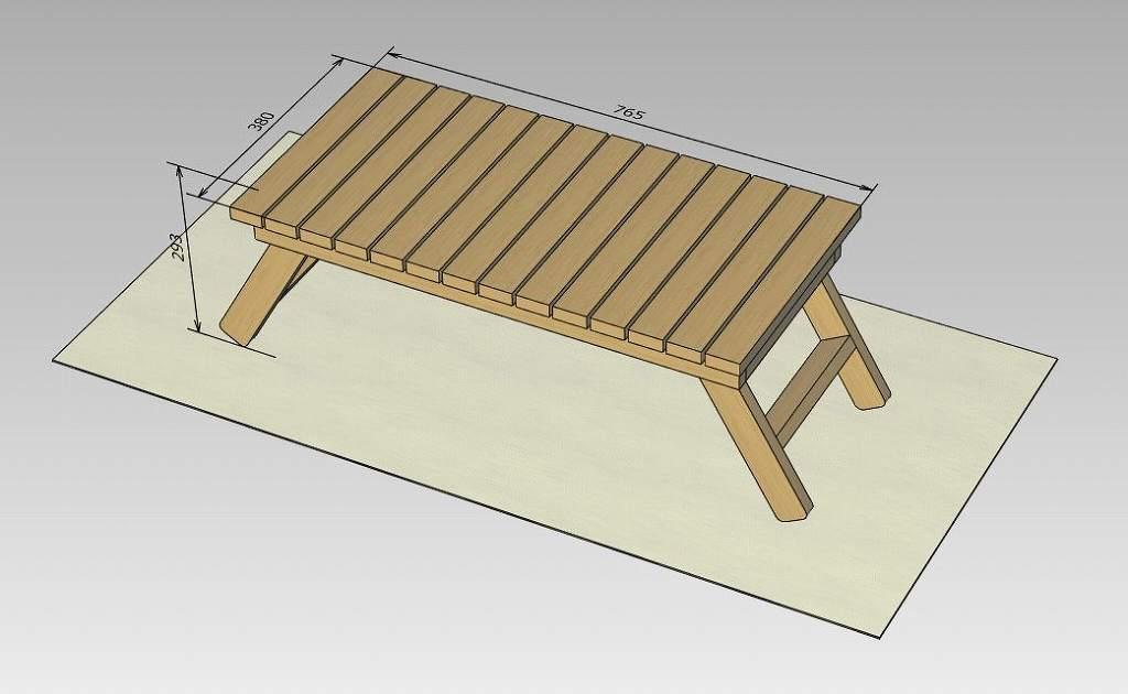 ローテーブル 寸法図